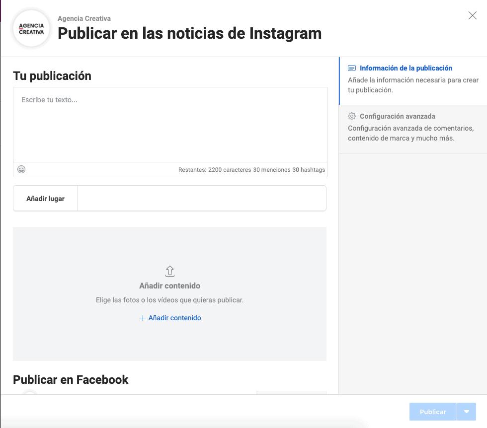 Cómo programar Instagram desde Facebook 3